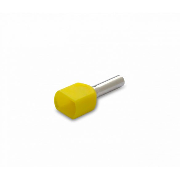 Érvéghüvely iker 200 db/cs, szigetelt, 2 x 1 mm2, 8 mm, citromsárga