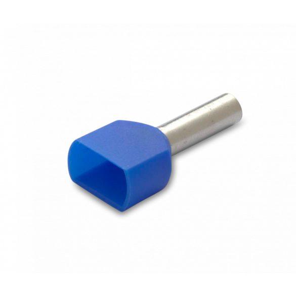 Érvéghüvely iker 100 db/cs, szigetelt, 2 x 2,5 mm2, 10 mm, kék