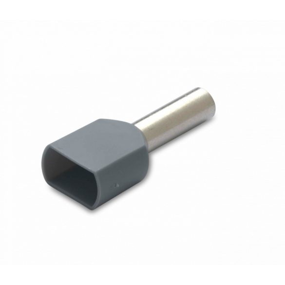 Érvéghüvely iker 100 db/cs, szigetelt, 2 x 4 mm2, 12 mm, szürke