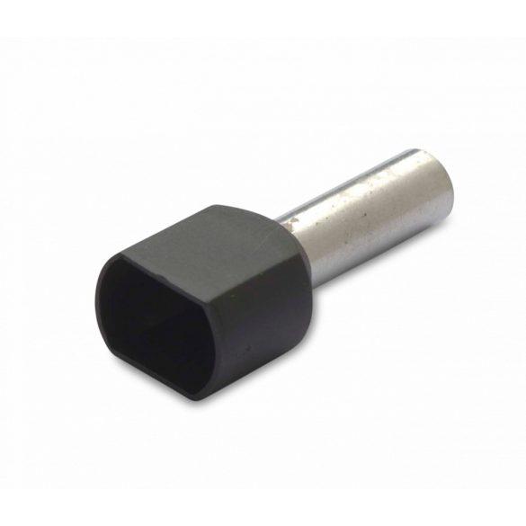 Érvéghüvely iker 50 db/cs, szigetelt, 2 x 6 mm2, 14 mm, fekete