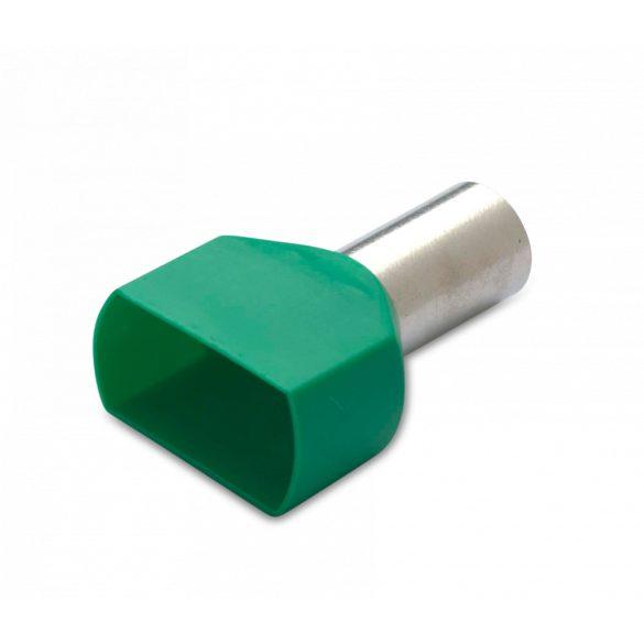 Érvéghüvely iker 50 db/cs, szigetelt, 2 x 16 mm2, 14 mm, zöld