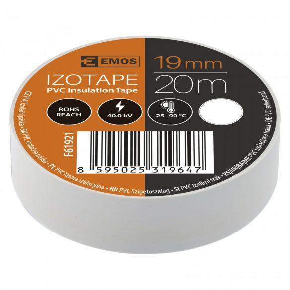 Szigetelőszalag 10 db/cs, 19 mm x 20 m, fehér