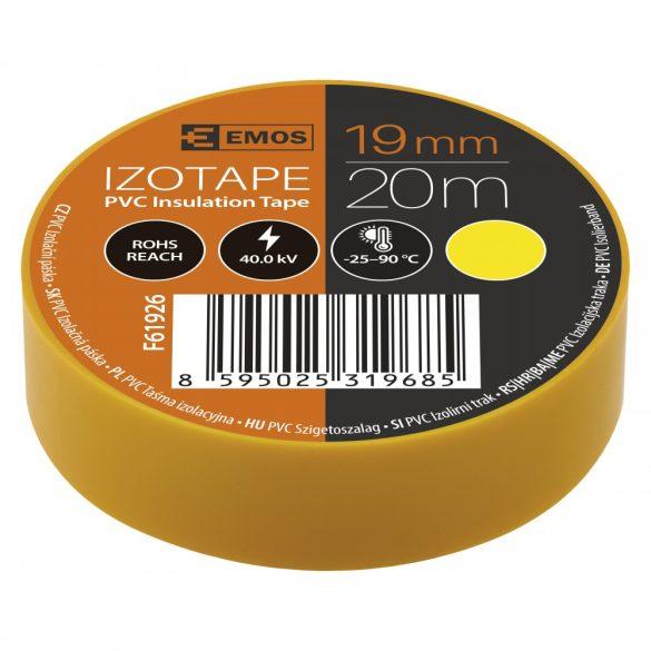 Szigetelőszalag 10 db/cs, 19 mm x 20 m, sárga
